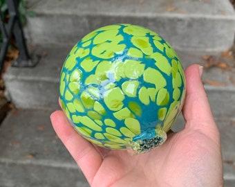 "Blown Glass Float, Turquoise Blue Chartreuse Green Spots, 3.5"" Sphere, Outdoor Garden Art Floating Ball, Coastal Nautical, Avalon Glassworks"