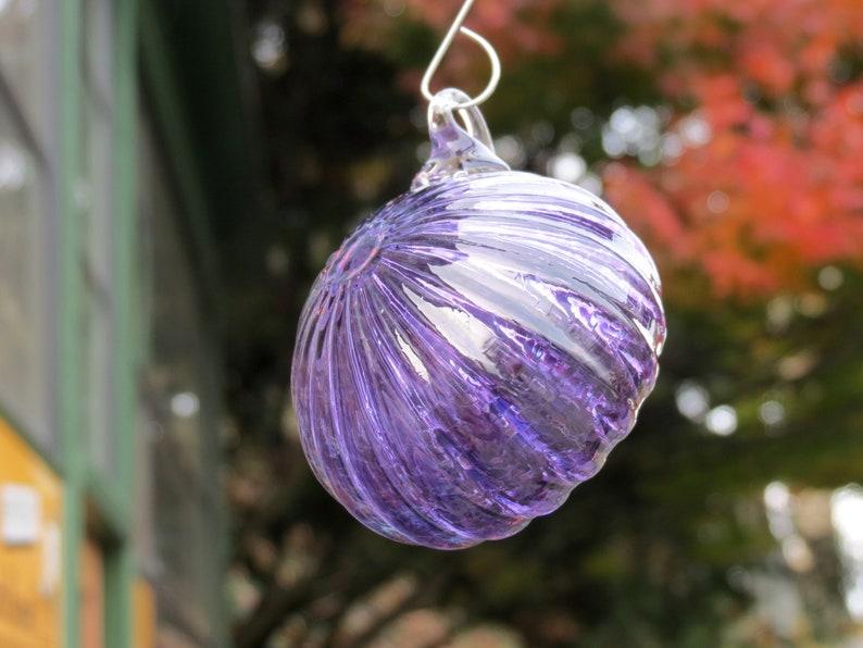 Sea Urchin Ornament 2.5 Purple Hanging Sea Shell image 0
