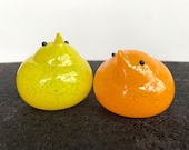 Yellow and Orange Glass Chicks, Set of Two Very Cute Hand Blown Bird Sculptures, Easter Mantel Tabletop Spring Decoration, Avalon Glassworks