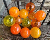 Orange and Yellow Blown Glass Balls, Set of 12 Small Outdoor Garden Pond Floats Interior Design Spheres Bright Warm Tones, Avalon Glassworks