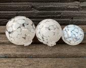 "White Spot Glass Floats, Set of Three 2.5""-3.5"" Hand Blown Balls Outdoor Garden Art Spheres, Interior Design Centerpiece, Avalon Glassworks"