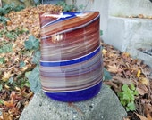 """Small Jupiter Purse Vase, Deep Blue with Warm Brown and Red Wraps, 7.5"""" Tall, Purse-Shaped Blown Glass Art, By Avalon Glassworks"""