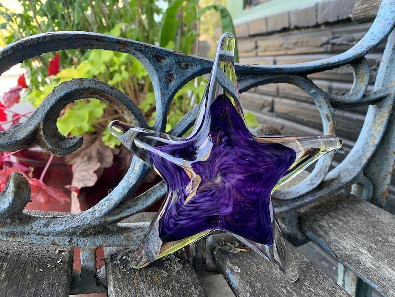 Purple Sea Star Sculpture 6 Solid Glass Decorative image 0