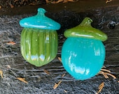 """Green & Blue Glass Acorns, Set of Two 4"""" Turquoise and Olive Seed Pod Sculptures, Thanksgiving Autumn Decor Oak Tree Art, Avalon Glassworks"""