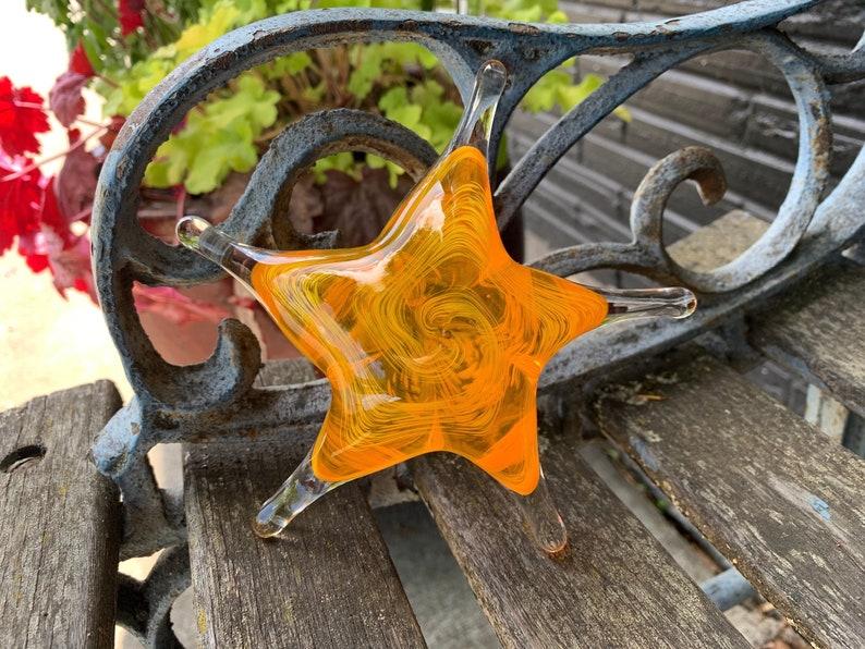 Yellow and Orange Sea Star Solid Glass 6 Starfish image 0