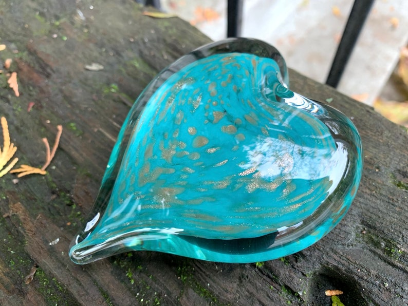 Turquoise & Gold Fleck Glass Heart Solid Heart-Shape 3 image 0