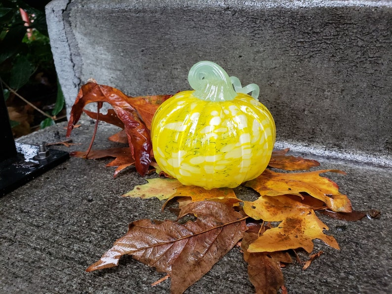 Yellow with White Spots Glass Pumpkin 4 Decorative image 1