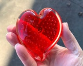 Red Glass Bubble Heart, Solid Heart-Shaped Paperweight Art Sculpture Controlled Bubble Design, Valentine Anniversary Gift, Avalon Glassworks