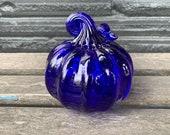"Cobalt Blue Glass Pumpkin, 4"" Decorative Hand Blown Squash Sculpture, Curly Coiled Stem Autumn Centerpiece, Coastal Decor, Avalon Glassworks"