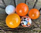 "Koi Fish Floats, Set of Five 2.5""-3.5"" Decorative Hand Blown Glass Balls, Orange White Black, Outdoor Garden Art Spheres, Avalon Glassworks"