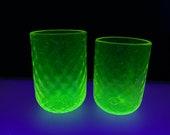 Uranium Glass Tumbler Cups Glow in Black Light, Hand Blown Vaseline Glass Set of Two Drinking Glasses, Transparent Yellow, Avalon Glassworks