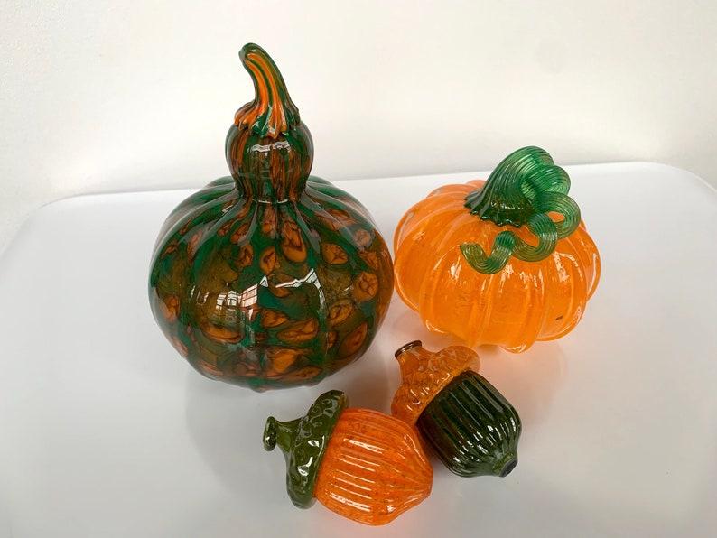 Green & Orange Glass Pumpkin Acorns and Squash Set of Four image 0