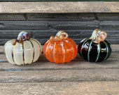 Glass Halloween Pumpkins, Set of 3 Hand Blown Gourds, Orange Black Silver Gold, Fall Autumn Thanksgiving Centerpiece Art, Avalon Glassworks