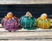Purple Turquoise Green Set of 3 Hand Blown Glass Pumpkins, Metallic Curly Stems & Ribs, Colorful Autumn Art, Fall Decor, Avalon Glassworks