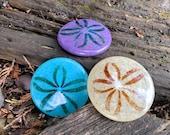 Glass Sand Dollars Set of Three, Turquoise Purple Beige, Solid Sculpture Beach Paperweights, Coastal Art Sea Shell Decor, Avalon Glassworks