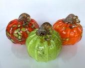 Bright Glass Pumpkins, Set of Three Hand Blown Gourds, Orange Green Curly Gold Stems, Thanksgiving Halloween Autumn Decor, Avalon Glassworks