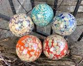 Earth and Fire Decorative Glass Balls, Set of 5 Hand Blown Floats, Interior Design Spheres, Outdoor Art, Garden Pond Orbs, Avalon Glassworks