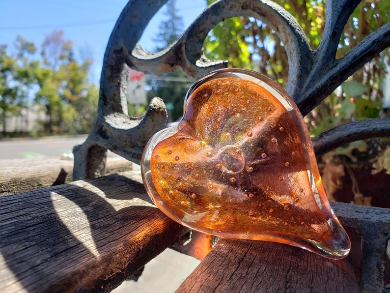 Amber Glass Heart with Bubble Burst Center Solid Heart-Shaped image 0