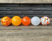 "Little Goldfish, Set of Five 2.75"" Hand Blown Glass Balls for Design Garden Pond Water Feature, Orange White Black Yellow, Avalon Glassworks"