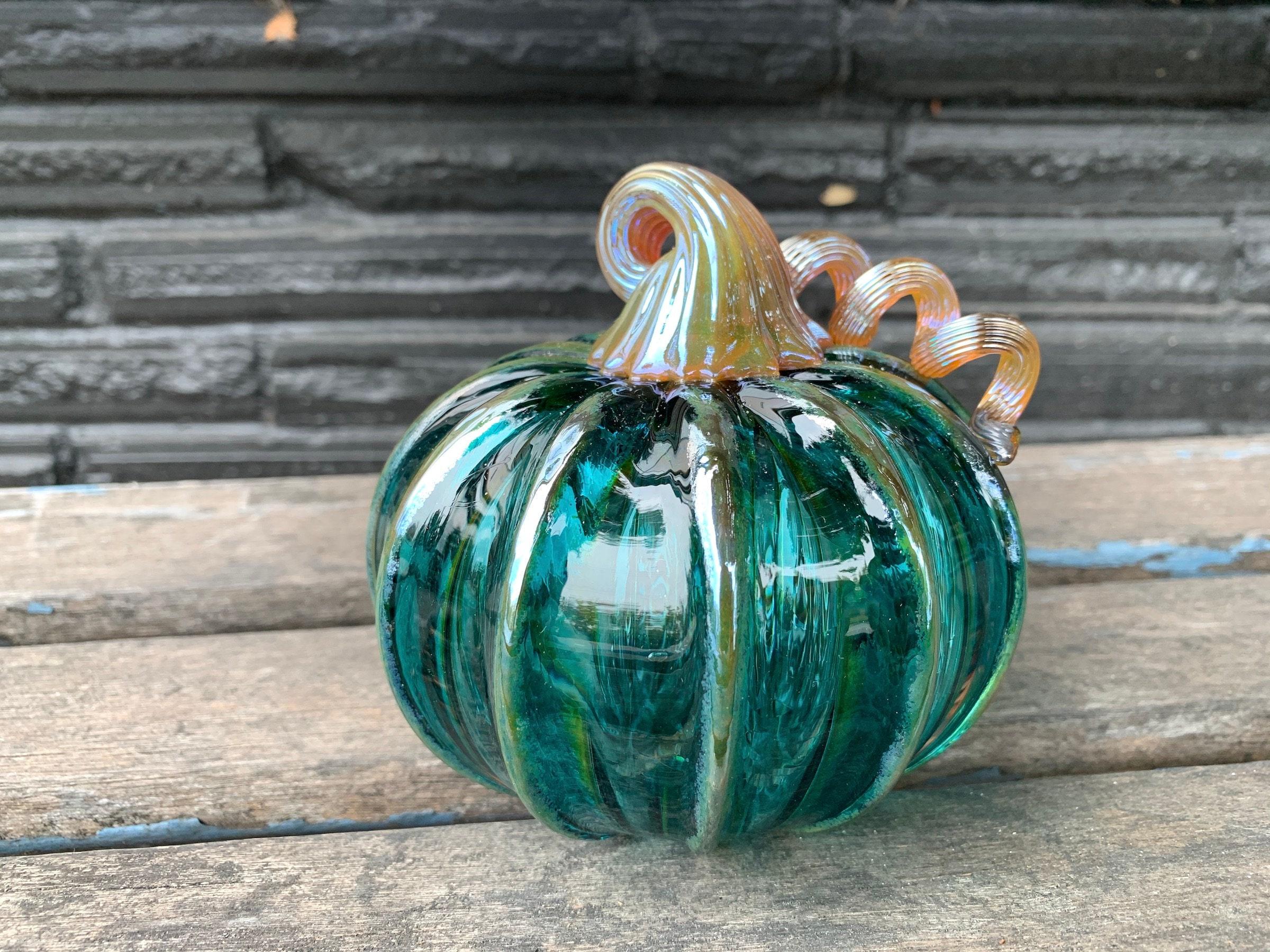 Hand Blown Green and Blue Glass Pumpkin