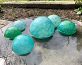 "Turquoise Blue Green Blown Glass Floats, Set of Six 2.75""-5"" Decorative Spheres Nautical Outdoor Garden Art Pond Balls, Avalon Glassworks"