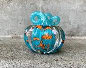 "Turquoise Orange Spot Small Glass Pumpkin, Solid 3"" Paperweight Decorative Blue Squash Sculpture Autumn Table Mantel Decor Avalon Glassworks"