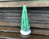 """Tall Holiday Tree Sculpture, 7"""" Blown Glass Christmas Decoration for Mantel or Tabletop, Green, White, Multi-Colored Dots, Avalon Glassworks"""