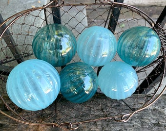 "Dusty Blues Ribbed Blown Glass Balls, Set of Six, Slate Turquoise Powder Blue 2.75"" Pond Floats Garden Decor Basket Filler Avalon Glassworks"