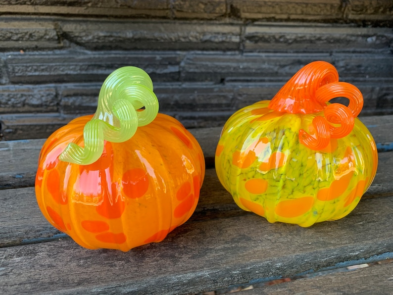 Glass Pumpkin Pair Yellow Orange and Green Set of Two image 0