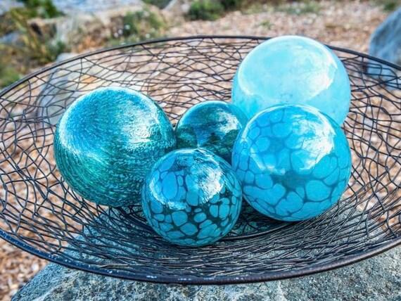 Beau Aqua U0026 Turquoise Glass Pond Floats Set Of Five | Etsy