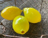 Glass Lemons, Set of Three Hand Blown Citrus Fruit, Sunny Bright Yellow Kitchen Dining Room Art Decor Table Centerpiece, Avalon Glassworks