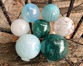 "Airy Blue and White Blown Glass Balls, Set of 7 Translucent 2.5""-3.5"" Pond Floats, Garden Art Decor Basket Filler Spheres, Avalon Glassworks"