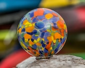 """Moclips 2021 Edition Float """"Macro Plastic"""" Blown Glass 4"""" Ball Art Buoy Supports the Museum of the North Beach Moclips WA, Avalon Glassworks"""