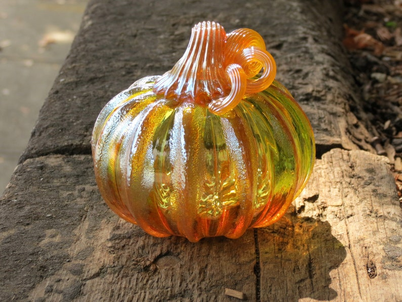 Two-Tone Pumpkin Blown Glass Orange and Touch of Green image 0