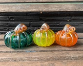 Orange, Yellow and Teal, Set of Three Hand Blown Glass Pumpkins, Metallic Curly Stems and Ribs, Colorful Autumn Art Decor, Avalon Glassworks