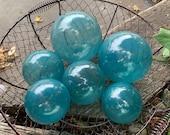 Teal Blown Glass Floats, Set of 6 Decorative Garden Balls, Interior Design Spheres, Nautical Translucent Aqua Blue Green, Avalon Glassworks