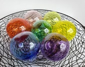 """Rainbow Floats, Set of Seven 3.5"""" Hand Blown Glass Balls, Prismatic Colors, Pride, Chakra, Decorative Outdoors or Indoors, Avalon Glassworks"""