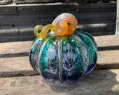 """Blue Fades to Purple, 4"""" Hand Blown Glass Pumpkin, Decorative Gourd Sculpture, Autumn Fall Art Centerpiece Gold Ribs Stem, Avalon Glassworks"""