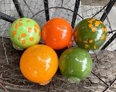 "That 70's Set, Green and Orange Floats, Five 3.25""-3.75"" Hand Blown Glass Balls, Interior Design Spheres, Garden Art Orbs, Avalon Glassworks"