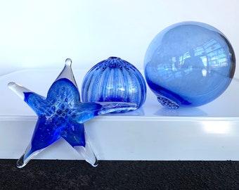 Blue Glass Sea Life and Float Set, Three Aquatic Art Blown & Solid Sculptures, Sea Star, Sea Urchin Shell, Fishing Float, Avalon Glassworks