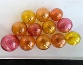 Sunset Colors, Set of 12 Hand Blown Glass Balls, Garden Pond Floats, Interior Design, Amber Cranberry Pink Peach Spheres, Avalon Glassworks