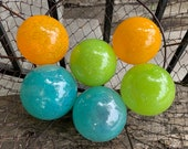 Bright Colorful Glass Balls, Set of Six Small Hand Blown Floats, Orange Turquoise Blue Chartreuse Green Outdoor Spheres, Avalon Glassworks