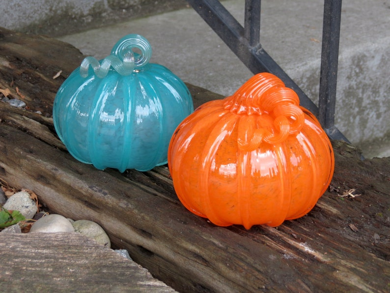 Orange and Teal Blown Glass Pumpkins Set of Two 4 image 1