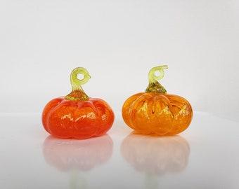 "Orange Pumpkin Ornaments, Set of Two 3"" Hanging Blown Glass Gourd Decoration, Green Loop Stem, Window Sun Catcher By Avalon Glassworks"
