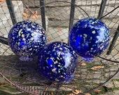 "Cobalt Blue Garden Balls, Set of Three 3.5"" Floats Hand Blown Design Spheres Dark Blue Beige Spots Outdoor Decor Art Orbs, Avalon Glassworks"