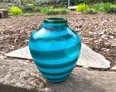 Aqua & Turquoise Blown Glass Wrap Vase, Modern Contemporary Northwest Coastal Decor, Graphic Green Blue Horizontal Stripe, Avalon Glassworks