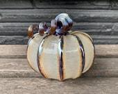 "Translucent Beige Hand Blown Glass Pumpkin, 4.5"" Decorative Gourd Sculpture, Metallic Ribs & Stem, Autumn Art Centerpiece Avalon Glassworks"