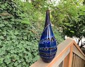 """Jupiter Droplet Vase, Deep Blue, Warm Brown and Red Wraps, Spots, 13.5"""" Blown Glass Art Vase, Northwest Art, Wood Tones, Avalon Glassworks"""