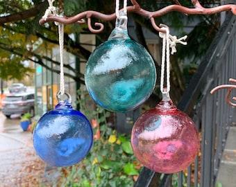 "Blown Glass Fishing Float Ornaments, Set of Three 3"" Decorative Hanging Balls, Nautical Outdoor Holiday Decor Sun Catchers Avalon Glassworks"