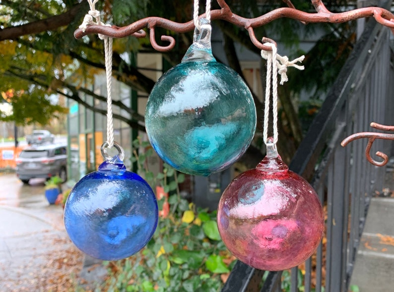 Blown Glass Fishing Float Ornaments Set of Three 3 image 1